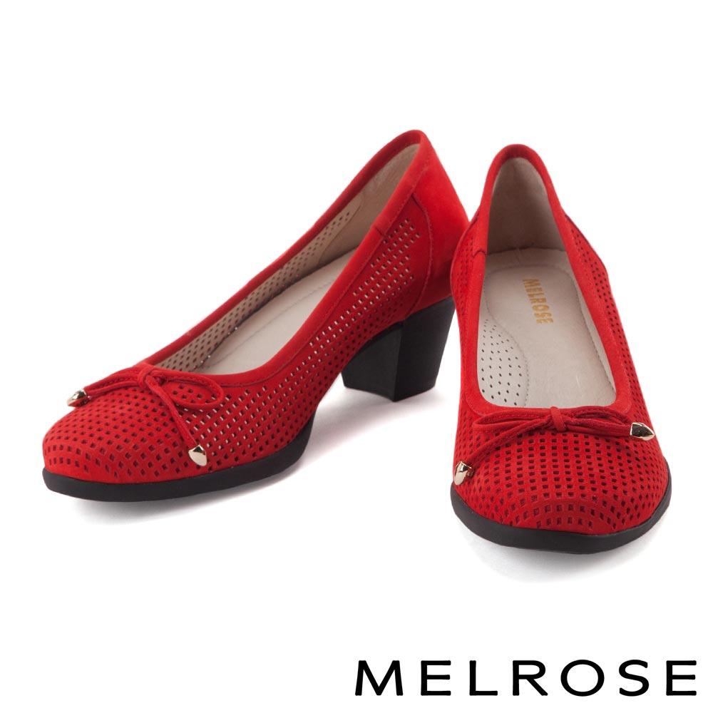高跟鞋 MELROSE 復古蝴蝶結沖孔牛皮高跟鞋-紅