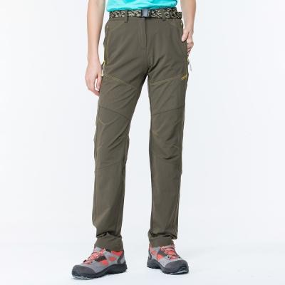 【ATUNAS 歐都納】女款防曬耐磨彈性休閒長褲(附腰帶)A-PA1712W橄欖綠