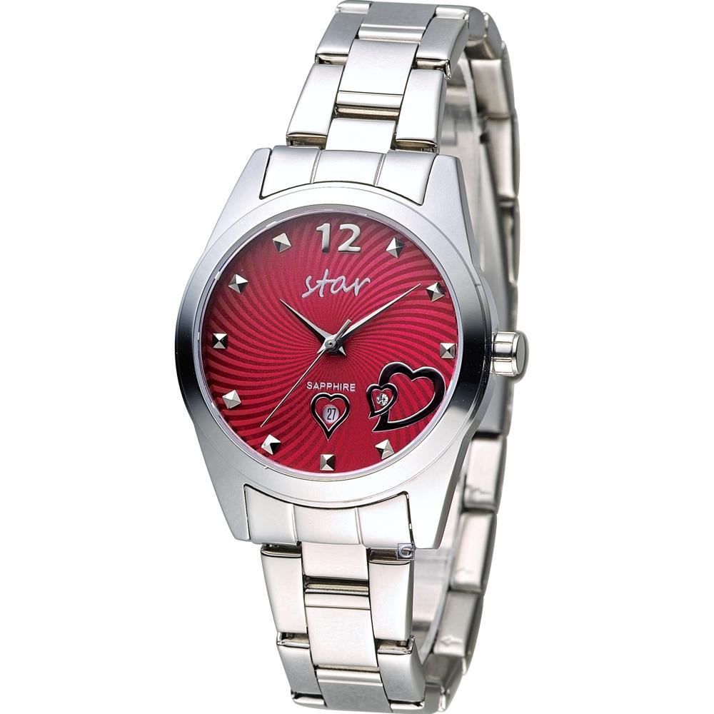 STAR 時代 甜蜜雙心石英錶-紅色x銀色/33mm