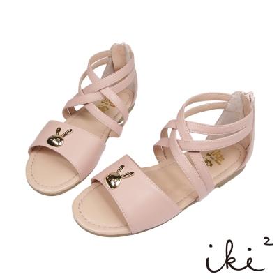 iki2童鞋-咕妮兔系列-交叉繞踝休閒涼鞋-甜蜜粉