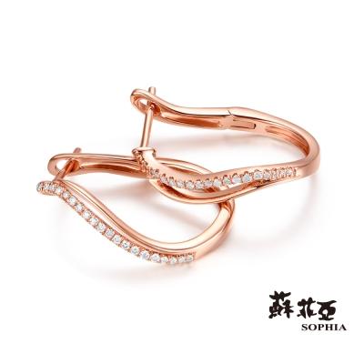 蘇菲亞SOPHIA 耳環-流線造型玫瑰金鑽石耳環