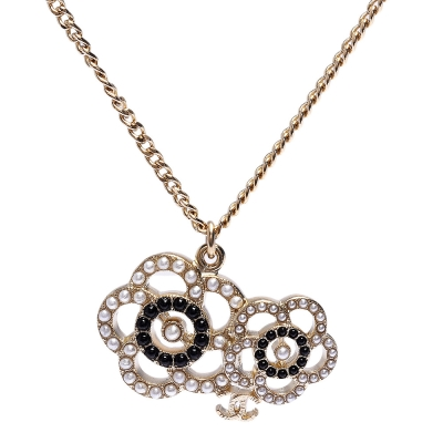 CHANEL-香奈兒迷你雙C-LOGO雙色珍珠鑲嵌