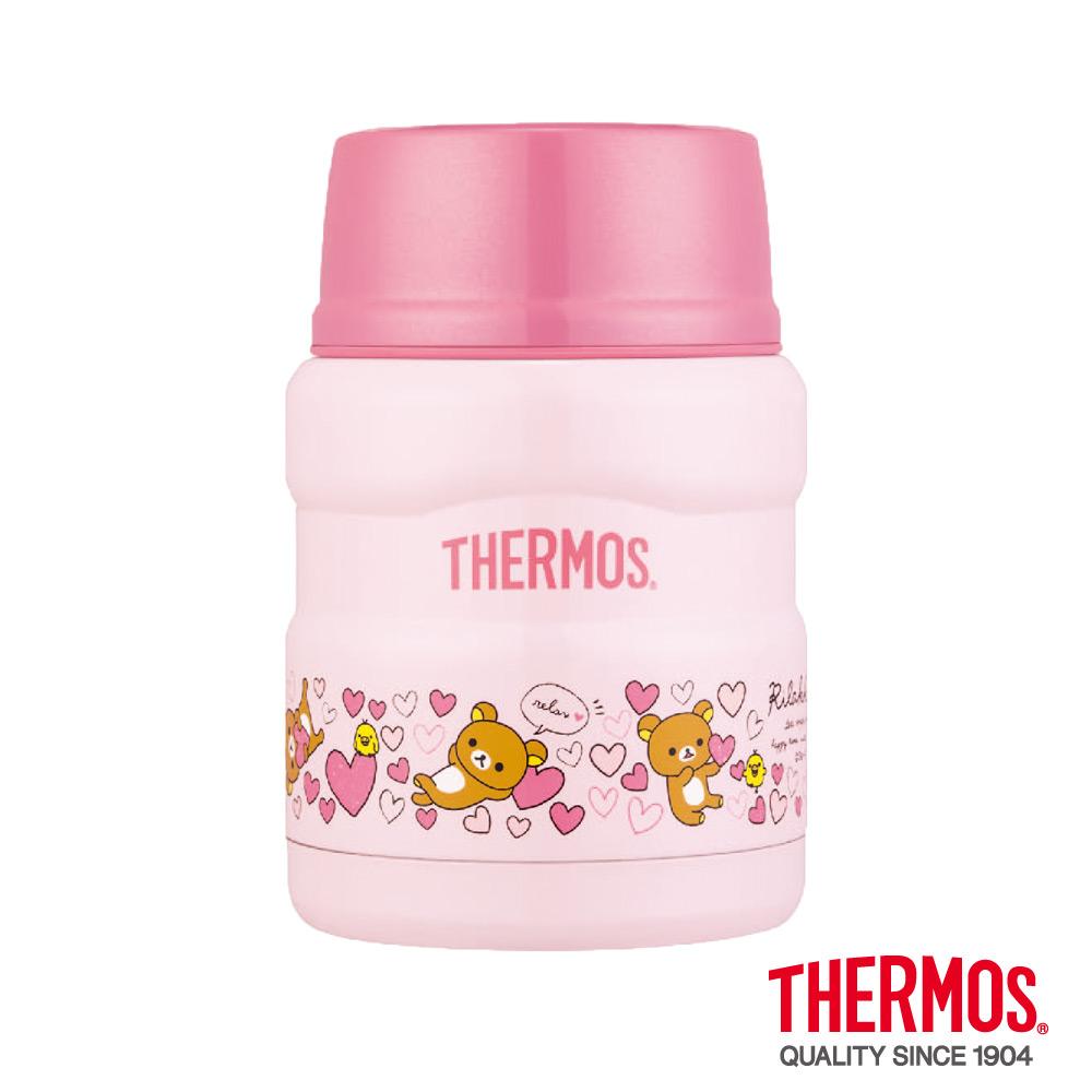 THERMOS膳魔師粉紅拉拉熊不鏽鋼真空保溫食物燜燒罐0.47L SK3000RM