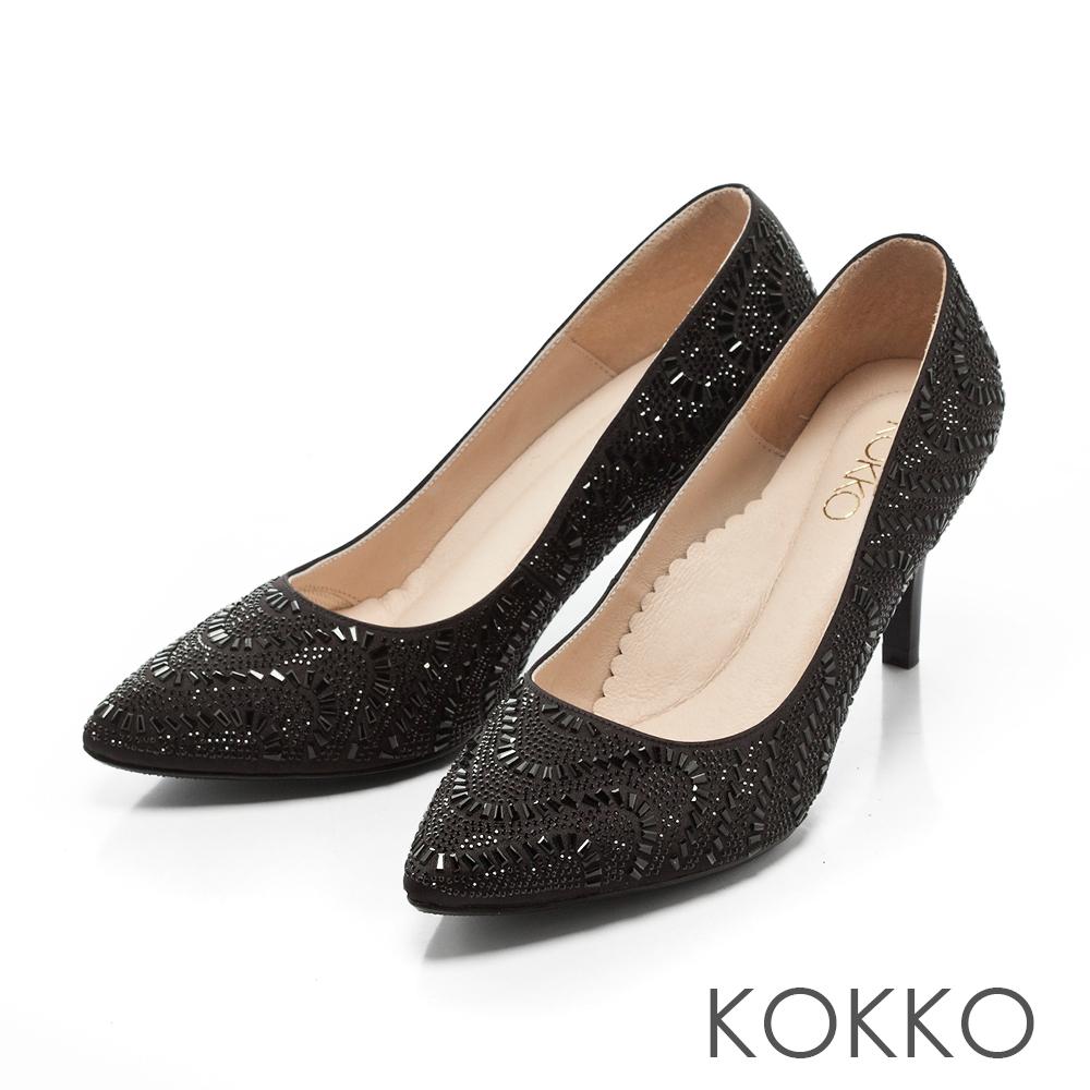 KOKKO -熠熠閃耀夢幻尖頭晶鑽高跟鞋-盛宴黑