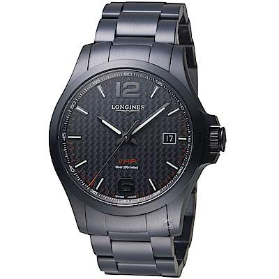 LONGINES浪琴 康卡斯系列 V.H.P石英腕錶(L37262666)-黑/41mm