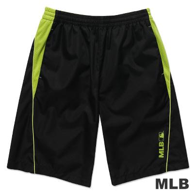 MLB-美國職棒大聯盟風衣布撞色運動短褲-黑(男)