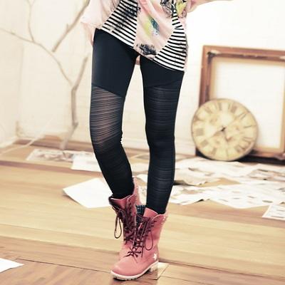 【La Belleza】古著‧細橫條紋透膚感分割彈性內搭褲