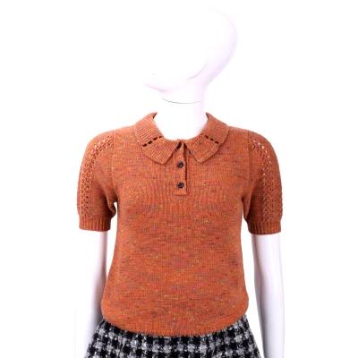 SEE BY Chloe 橘紅混色織紋短袖上衣