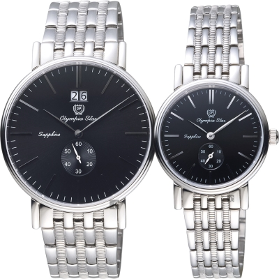 Olympia Star奧林比亞 大視窗小秒針對錶-黑x銀/40+28mm