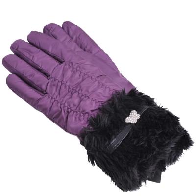 ANNA SUI  優雅皮圈水鑽蝴蝶造型毛毛滾邊潑水加工禦寒手套(紫)