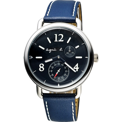 agnes b. Journey 新世界航海小秒針套錶-黑x藍/39mm
