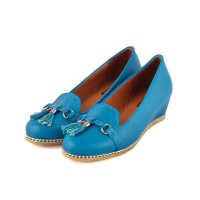 TAS-真皮金屬環立體小流蘇內增高娃娃鞋-水漾藍