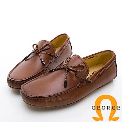 GEORGE 喬治-經典素面真皮休閒鞋-棕