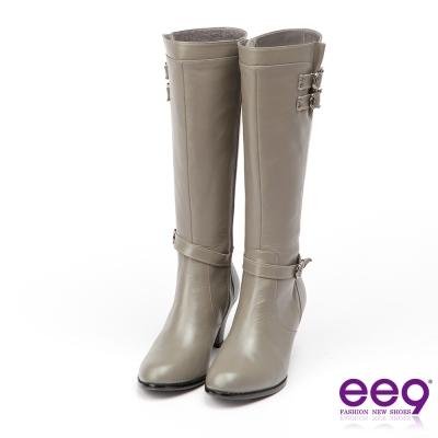 ee9 MIT經典手工~低調簡約金屬扣環繫帶素面粗跟長筒靴*灰色