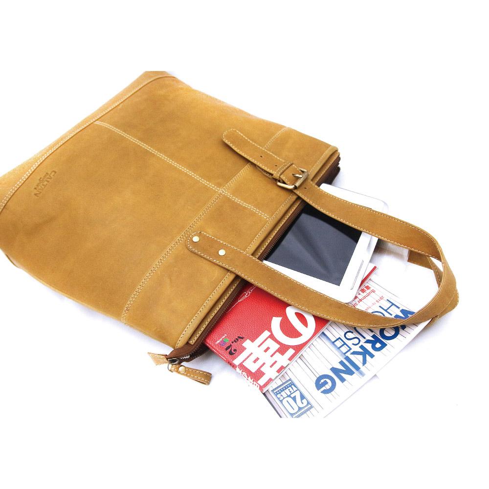 CALTAN - 男女用真皮大容量側背包托特包肩背包-5311ht