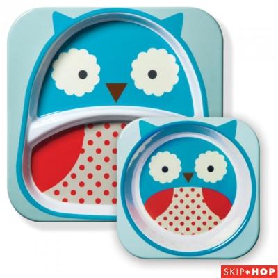 Skip Hop 貓頭鷹款動物兒童餐具組合