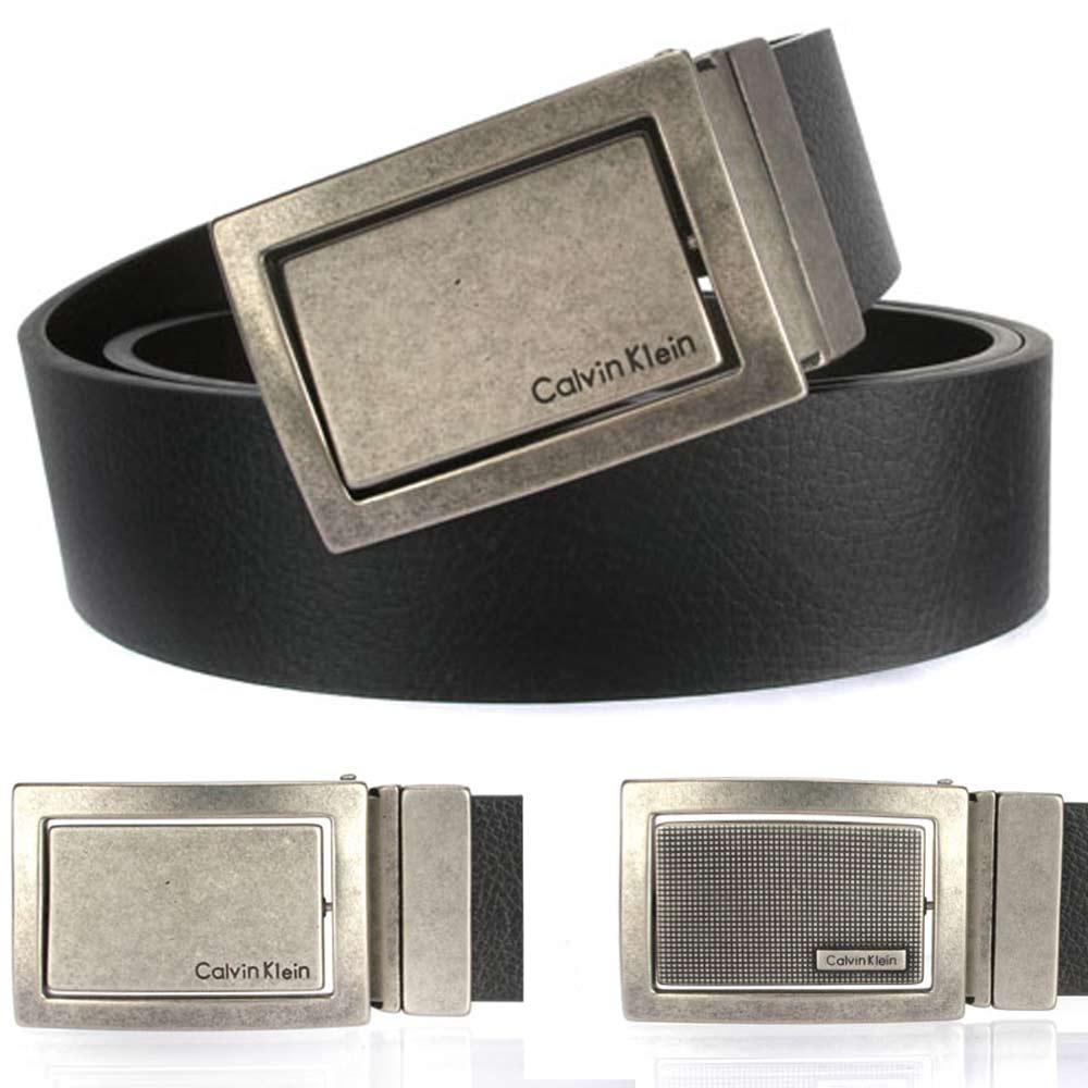 Calvin Klein 仿舊金屬旋轉雙面雙色皮帶-黑/咖啡
