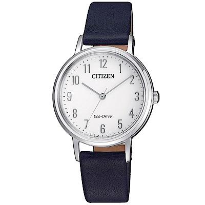 CITIZEN星辰 簡約氣質風尚光動能女錶 (EM0571-16A)-白色/30mm