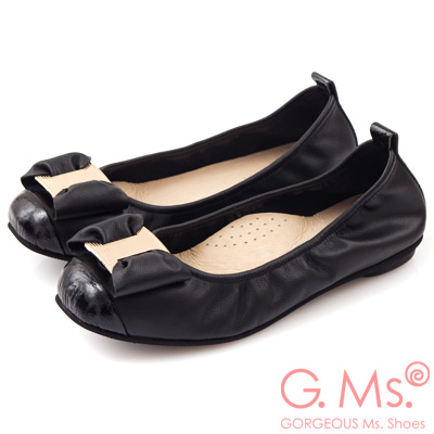 G.Ms. MIT系列-牛皮金飾穿釦蝴蝶結芭蕾舞娃娃鞋-知性黑