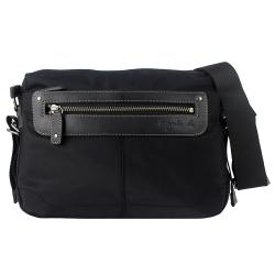 agnes b. voyage 黑色皮飾邊橫式多隔層拉鍊斜背包