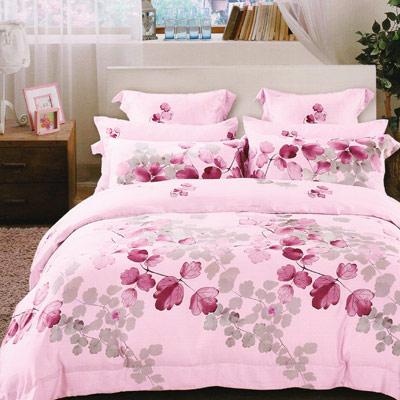 Saint Rose 陽光旅行-粉 雙人100%純天絲全鋪棉床包兩用被套四件組