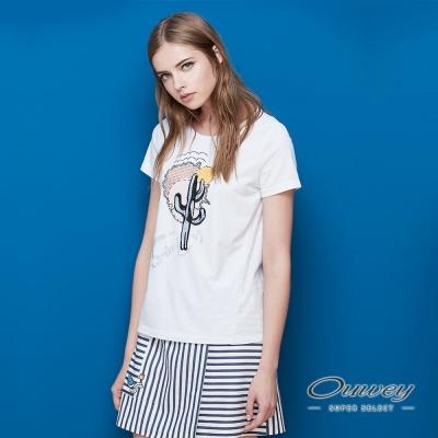 OUWEY歐薇 仙人掌刺繡棉質T-Shirt(白)