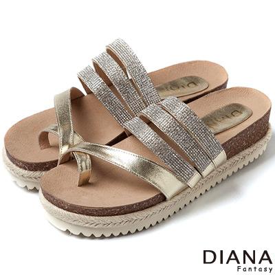 DIANA-時尚便鞋-水鑽麻編舒適厚底涼拖鞋-金