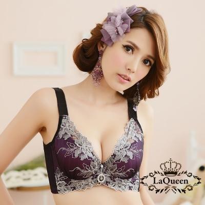 內衣  浪漫立體刺繡蠶絲內襯單內衣-紫 La Queen
