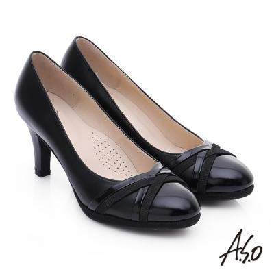 A.S.O 優雅美型 真皮交叉窩心高跟鞋 黑色