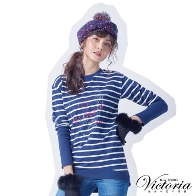 Victoria 骷髏貼鑽寬鬆長袖T-女-藍底白條