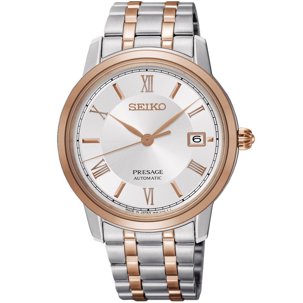 SEIKO精工 Presage 經典羅馬機械男錶(SRPC06J1)-銀x雙色/39mm