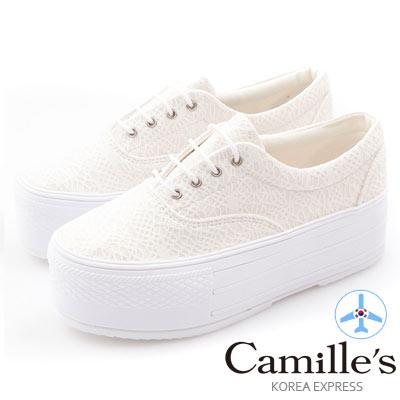 Camille 韓國空運-正韓製-蕾絲綁帶厚底懶人休閒鞋-米白