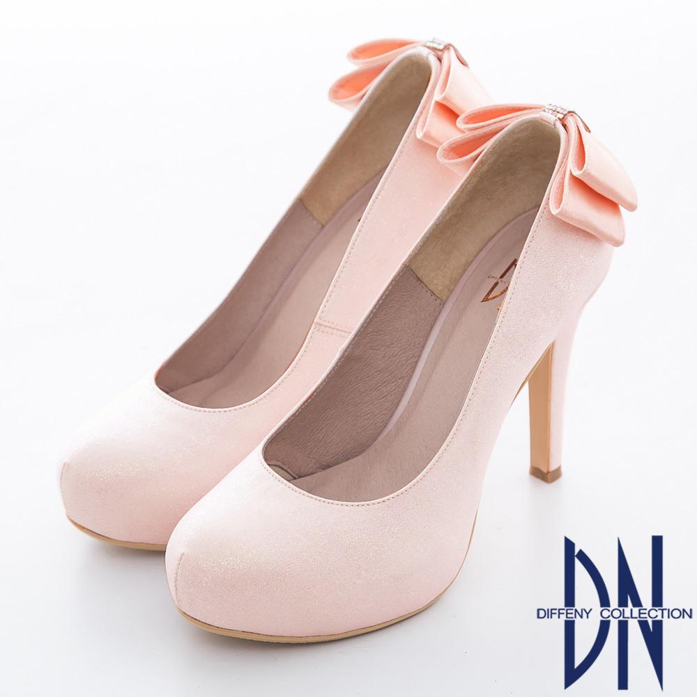 DN 耀眼迷人 華麗金蔥蝴蝶結鑲鑽新娘晚宴鞋 粉