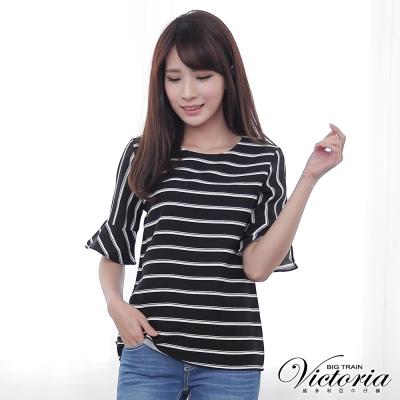 Victoria 摩登條紋喇叭袖圓領衫-女-黑色