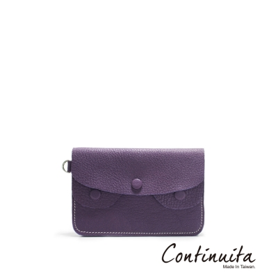 Continuita 康緹尼 MIT 頭層牛皮手拎零錢包 紫色