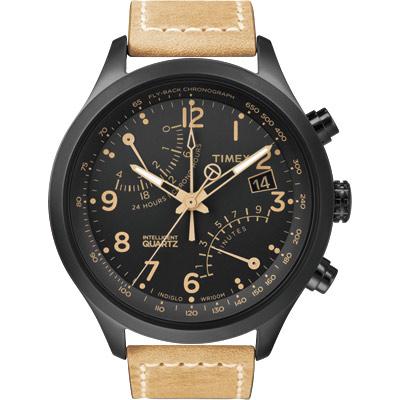 TIMEX Intelligent 飛返計時指南運動腕錶-黑x卡其/43mm