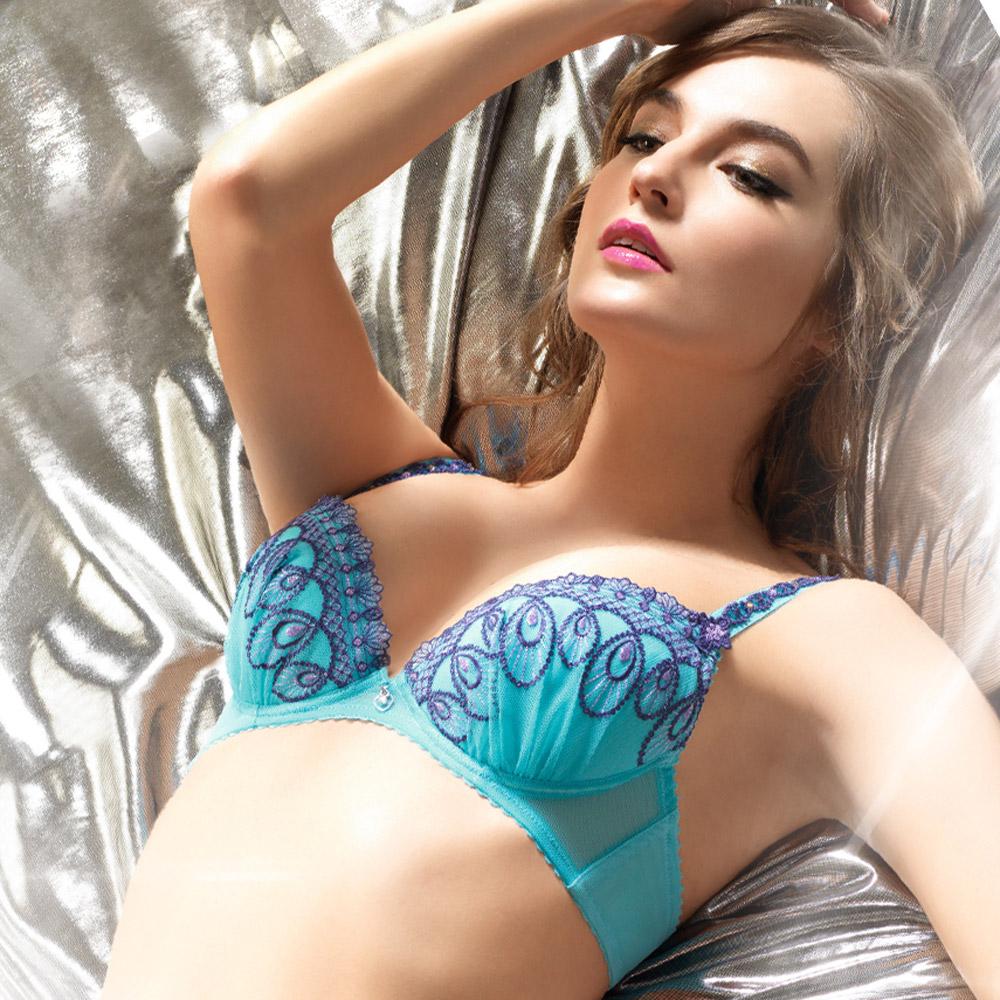 LADY 慾望伊絲塔系列 刺繡深線內衣 B-F罩(晶鑽藍)