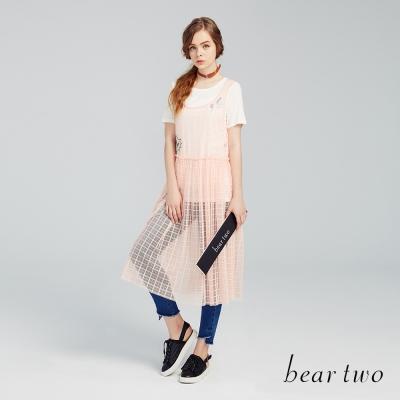 beartwo 兩件式微透格紋長洋裝(二色)