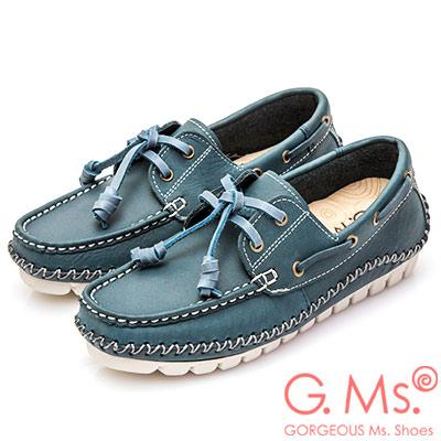 G.Ms. MIT系列-牛皮縫線綁帶帆船鞋-藏青藍