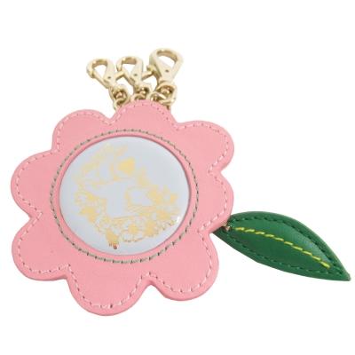 agnes b.花型皮革鑰匙圈(粉紅)