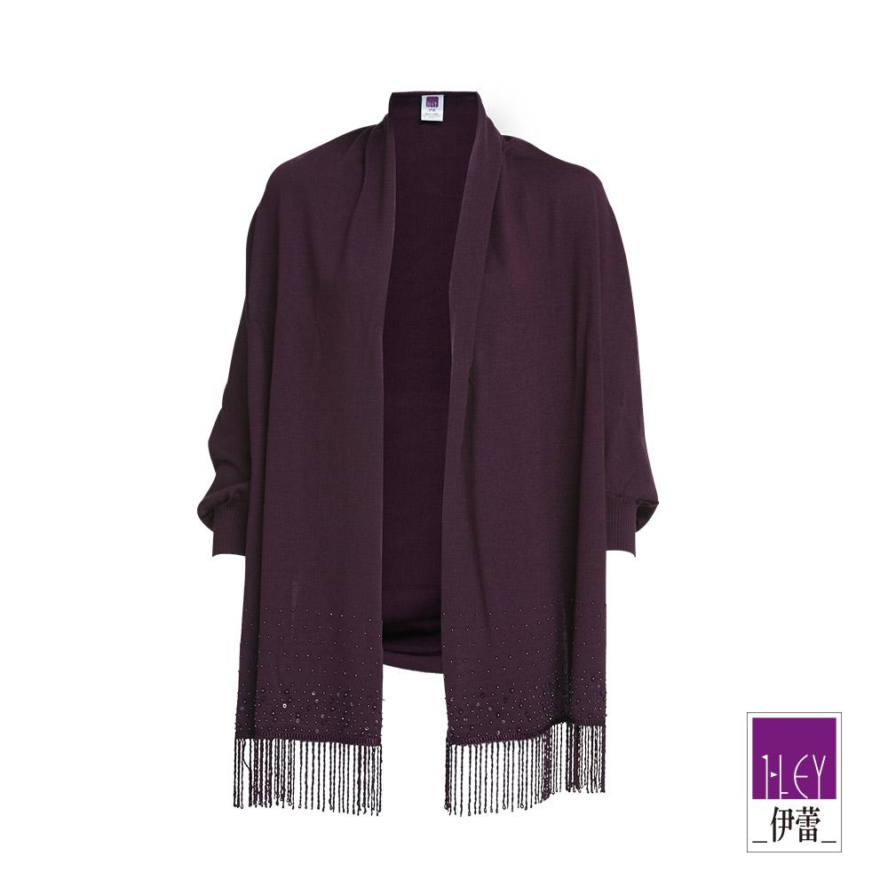 ILEY伊蕾 保暖羊毛50%流蘇披肩(紫)