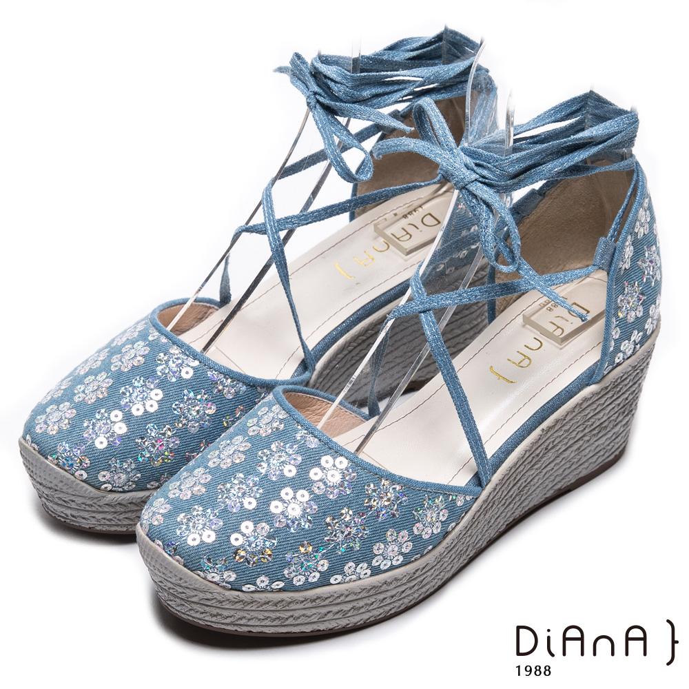 DIANA 夢幻狂想曲--花漾率性丹寧交叉綁帶楔型鞋-藍