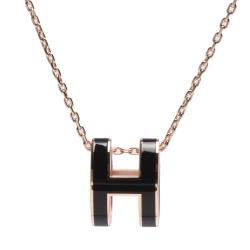 HERMES 經典Pop H立體簍空橢圓LOGO項鍊(黑X玫瑰金)