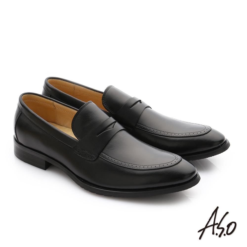 A.S.O 職人通勤 牛皮經典圓楦直套紳士皮鞋 黑色