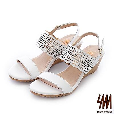 SM-台灣真皮-鏤空腰帶一字中低楔型涼鞋-白色