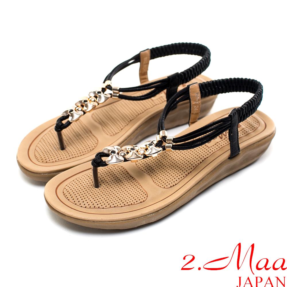 2.Maa-超輕型-甜美蝴蝶結調整式平底涼鞋-時尚黑