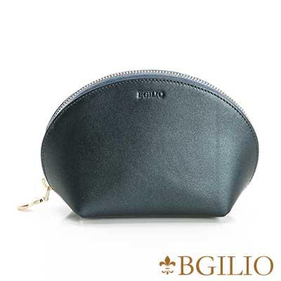 義大利BGilio-珠光Nappa軟牛皮優雅貝殼零錢包-金屬藍1969.301A-09
