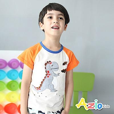 Azio Kids 上衣 恐龍配色袖竹節棉棒球T恤(杏)