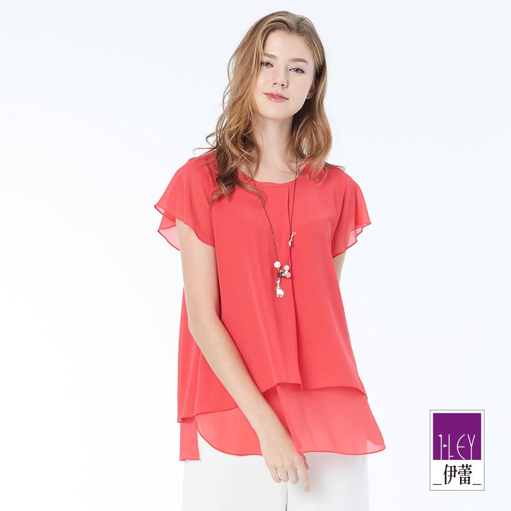 ILEY伊蕾 優雅甜美墜鍊雪紡上衣(紫/桃)