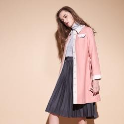 撞色暖時尚質感羊毛長版造型外套-粉膚
